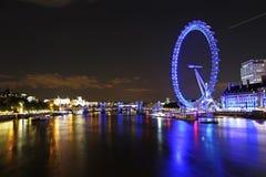 Night london. London cityscape with london eye at night, england, united kingdom Stock Photography