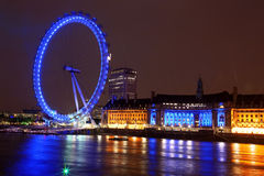 Night of London Eye, UK Royalty Free Stock Photography