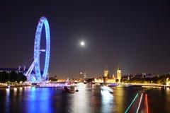 Night London. Night view to beatiful London, London symbols, Thames, Moon and stars Stock Photos