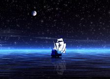Night. Lonely sailer Stock Images