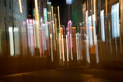Night long exposure abstract vertical lights blur. KOWLOON HONG KONG, SEPTEMBER 20, 2017;Abstract vertical blur city lights stock images
