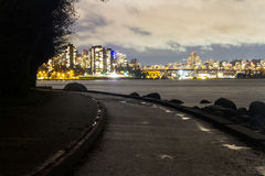 Night long exposure city shot with city lights Royalty Free Stock Image