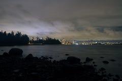 Night long exposure city shot with city lights Stock Photo