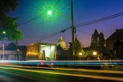 Night Long Exposure Photography of a City Street Royalty Free Stock Photo