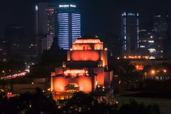 Night long exposure shot for Cairo Opera house and lights in Cairo Egypt royalty free stock photos