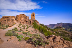 Night long exposure view of the Roque Nublo peak on Gran Canaria island, Spain. Night long exposure view of the Roque Nublo peak on Gran Canaria island royalty free stock images