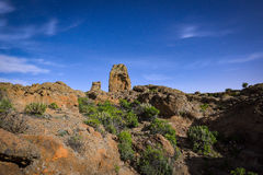 Night long exposure view of the Roque Nublo peak on Gran Canaria island, Spain royalty free stock photo