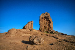 Night long exposure view of the Roque Nublo peak on Gran Canaria island, Spain royalty free stock photography