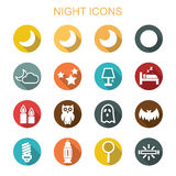 Night long shadow icons Royalty Free Stock Photos
