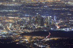 Night Los Angeles downtown scene Royalty Free Stock Photo