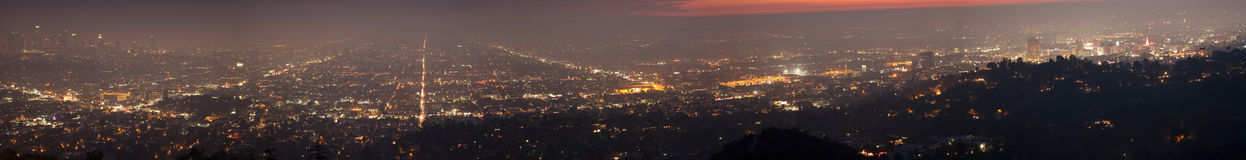 Night of Los Angeles - panorama Royalty Free Stock Photo
