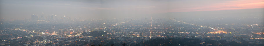 Night of Los Angeles - panorama Stock Photo