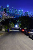 Night Los Angeles. The road to the night Los Angeles  downtown. California. USA Royalty Free Stock Image