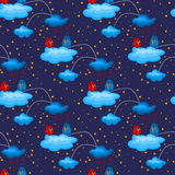 Night Love Birds in Clouds Seamless Pattern Stock Photos