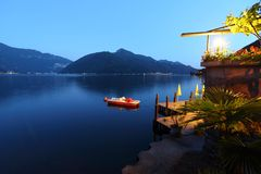 Night lugano lake landscape Stock Photos
