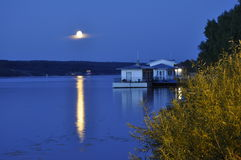 Night, a lunar path. The Golden Ring of Russia. A city the Ples on the river Volga. Night, a lunar path Stock Image