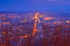 Night Lviv. Lviv building church and safety tower in Lviv center of Europe Royalty Free Stock Image