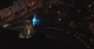 Night Lviv. Many People Dance. Celebrating Birthday. Aerial view Night Lviv. Many People Dance stock video
