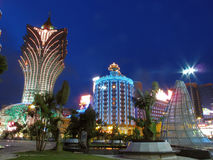 Night of macao. Grand Lisboa Hotel/casino is an iconic building set in the heart of Macao, is a testament to extraordinary elegance. With its distinctive Stock Photo