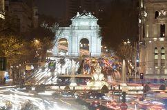 Night Madrid. Night view of Puerta de Alcala and fountain of Cibeles, Madrid, Spain Royalty Free Stock Images