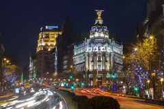 Night in Madrid. The Gran Via in the night at Madrid City, Spain in horizontal fram Royalty Free Stock Photography