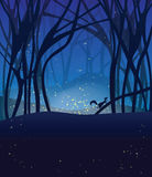 Night Magic Scene With Fireflies And Running Squirrel. Stock Photo