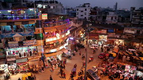 Night Main Bazar in New Delhi stock footage