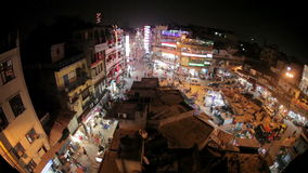 Night Main Bazar in New Delhi stock video footage