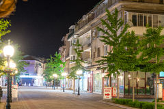 Night on the main street Pomorie, Bulgaria royalty free stock photo