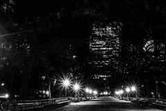 Night in the Mall in black and white. The Mall located in the heart of Central Park contains the largest collections of American Elm Trees Stock Photos