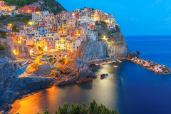 Night Manarola, Cinque Terre, Liguria, Italy Stock Photo