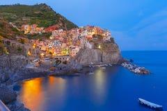 Night Manarola, Cinque Terre, Liguria, Italy Royalty Free Stock Photography