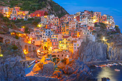 Night Manarola, Cinque Terre, Liguria, Italy Stock Image