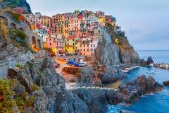 Night Manarola, Cinque Terre, Liguria, Italy Royalty Free Stock Photo