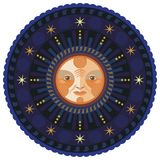 Night Mandala. Concentric decorative illustration of the moon by night Royalty Free Stock Photo