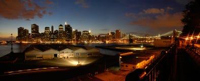 Night manhattan panorama Stock Photo