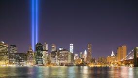 Night manhattan panorama september 11 4k time lapse from new york. Night light manhattan panorama september 11 4k time lapse from new york stock footage
