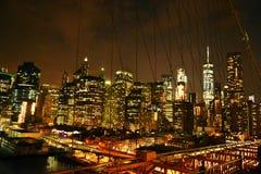 Night Manhattan view. From the bridge Royalty Free Stock Photos