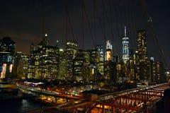 Night Manhattan view. From the bridge Stock Photos
