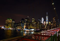 Night Manhattan view. From the bridge Royalty Free Stock Image