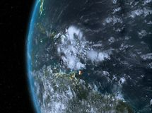 Caribbean in red at night. Night map of Caribbean as seen from space on planet Earth. 3D illustration. Elements of this image furnished by NASA Stock Photography