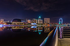 Night at marina bay. Arina Bay is set to be a 24/7 destination with endless opportunities for people to %u201Cexplore new living and lifestyle options, exchange stock images