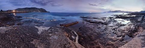 Night marine panorama. Spring evening on the coast of black sea. Stock Image
