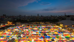 Night market aerial view multiple colour rooftop royalty free stock images