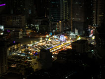 Night Market in Bangkok, Thailand. Night colorful and lighting market in the capital city of Thailand, Bangkok. Also capture the moment from the aerial view Royalty Free Stock Photos