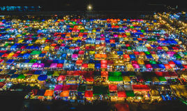 Night market. In Bangkok, Thailand with colorful tent Royalty Free Stock Image