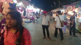 Night market at big c shopping mall in thailand stock video footage