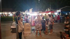 Night market near big c shopping mall in pathum thani stock video footage