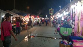 Night market near big c shopping mall in pathum thani stock footage