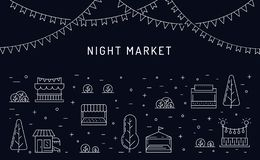 Night market open air outdoor, Summer fest. Food street fair, family festival poster and banner colorful design. Flat outline vector illustration royalty free illustration